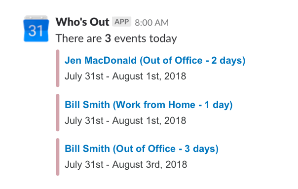 Slack Who's out calendar schedule vacation time