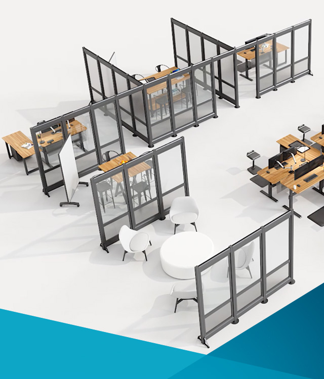 Temporary walls can create a sense of privacy between workspaces for a quick open plan office solution