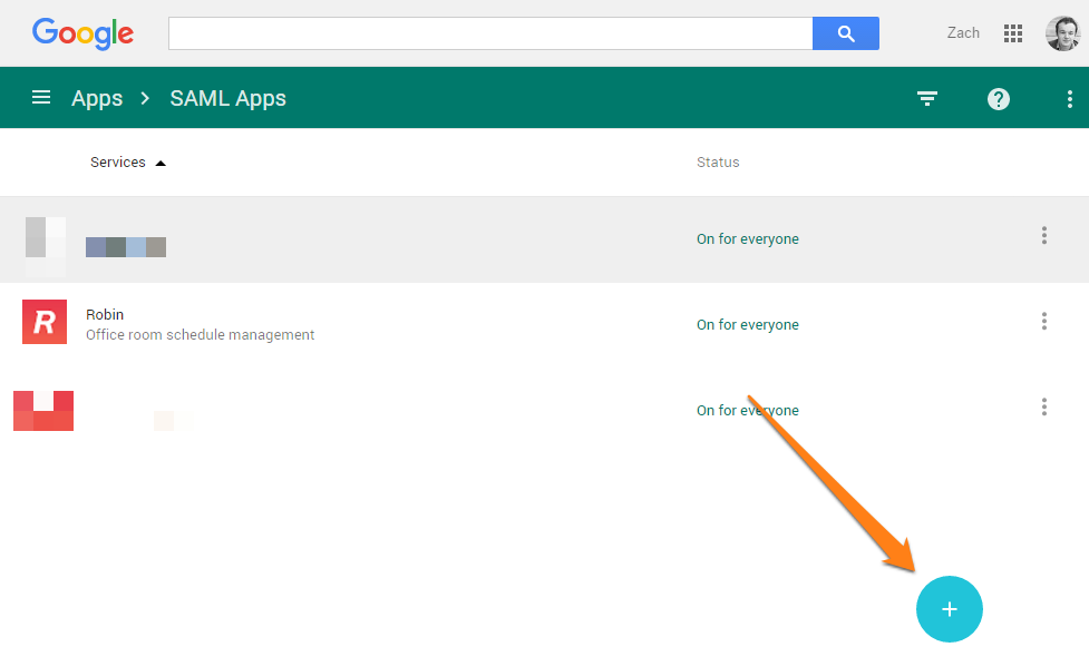 SAML app list