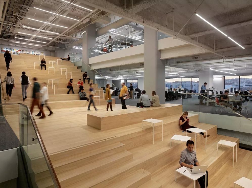Office stairs for activity-based working in an open office layout