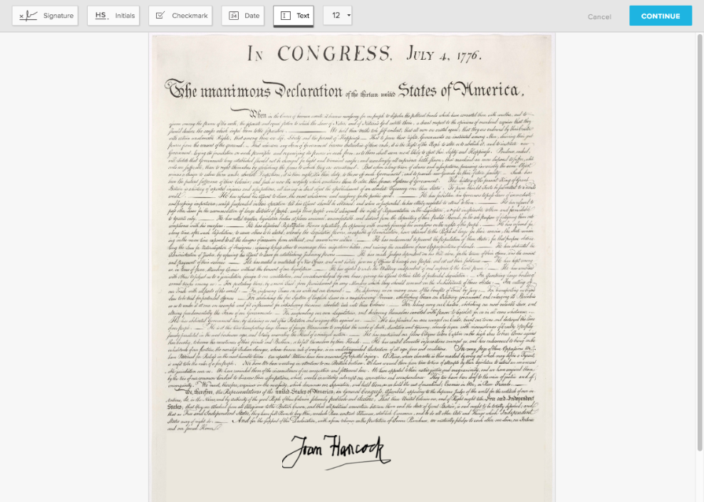 Declaration of Independence via HelloSign