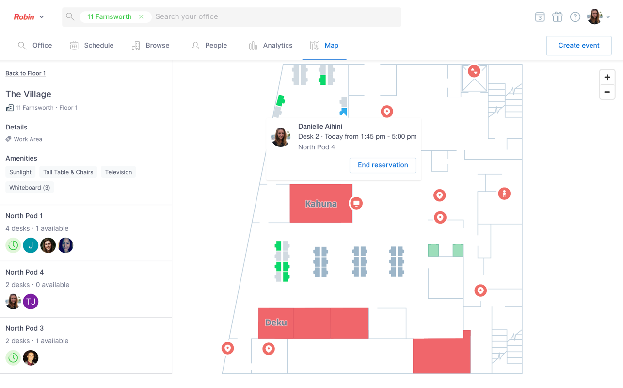 Robin's hot desk booking software off of an interactive office map