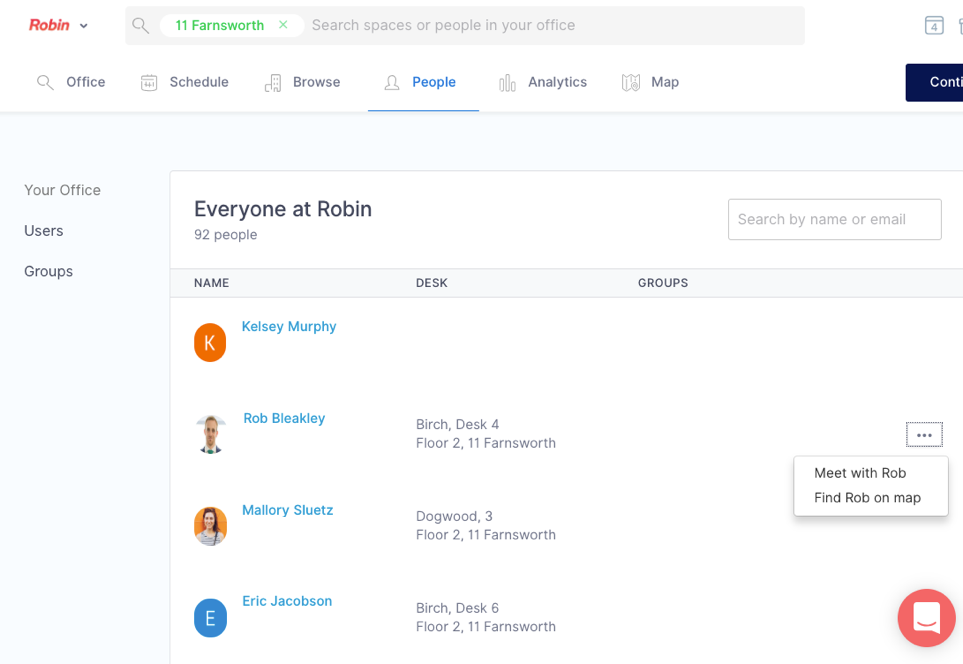 Everyone can find colleagues and seat assignments in Robin's within seconds dashboard.