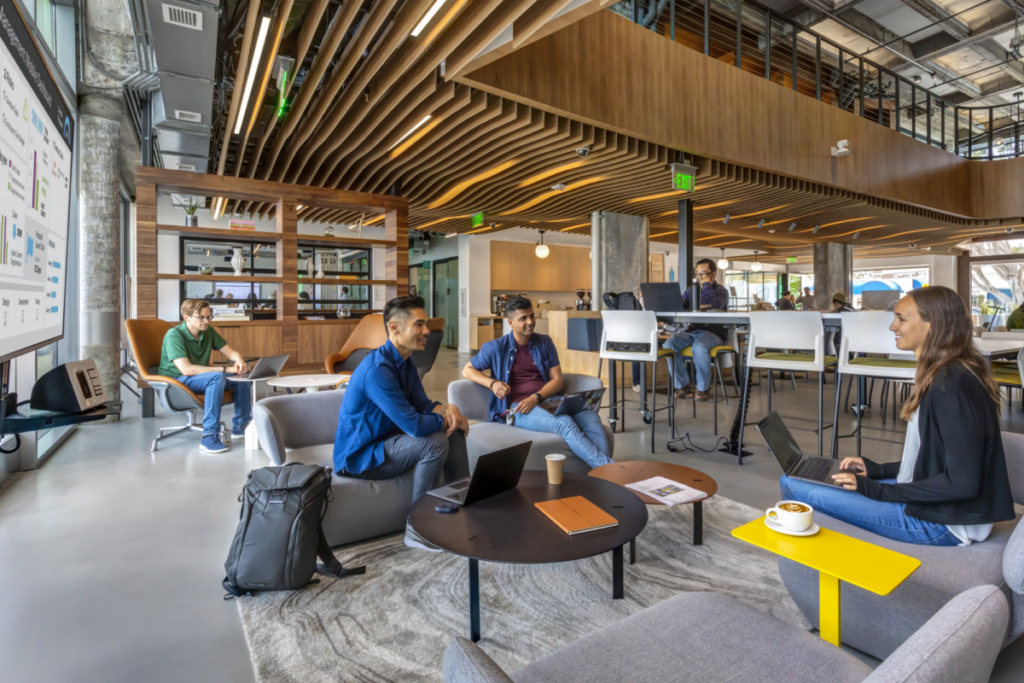 Thirdspaces like cafes and lounges workplace design strategies add employee flexibility and autonomy, a highly desired benefit for top talent