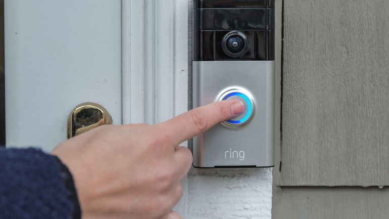 Ring smart doorbell sign in technology office