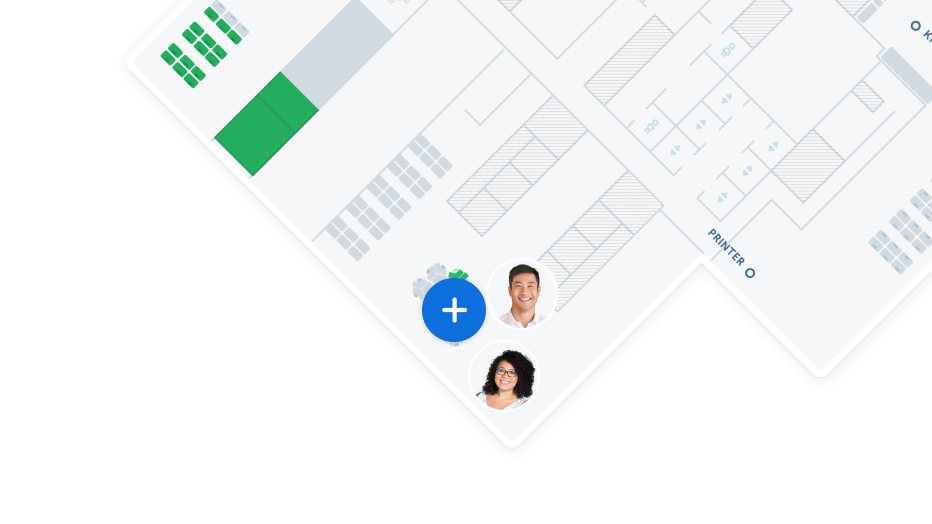 An office map with two avatars and an icon.