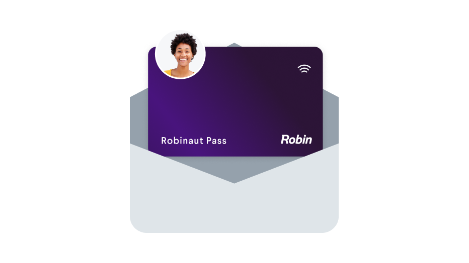 """An envelope with a card inside that says """"Robinaut Pass"""" with an avatar."""