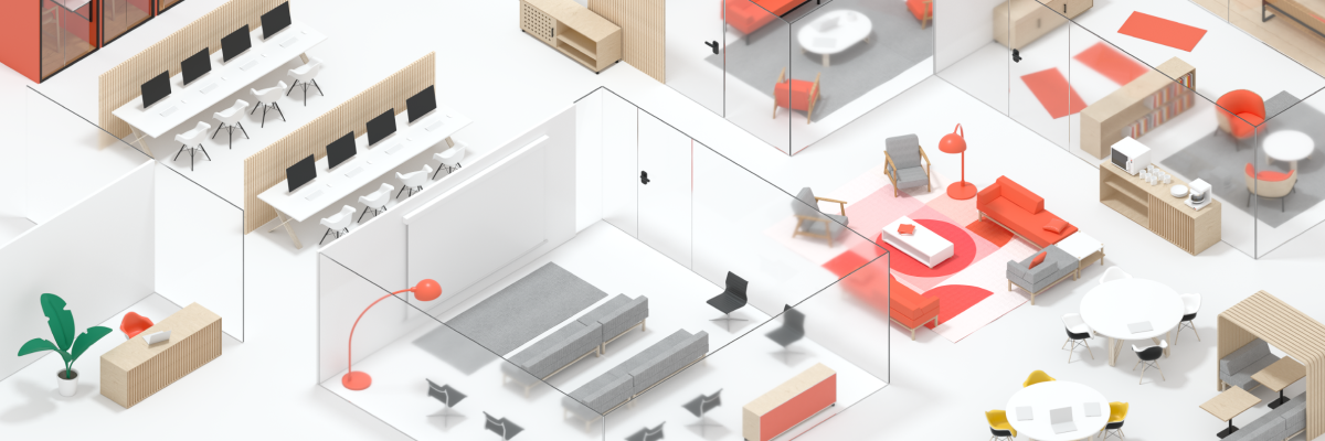 A 3d render of an entire office. Furniture and conference rooms.