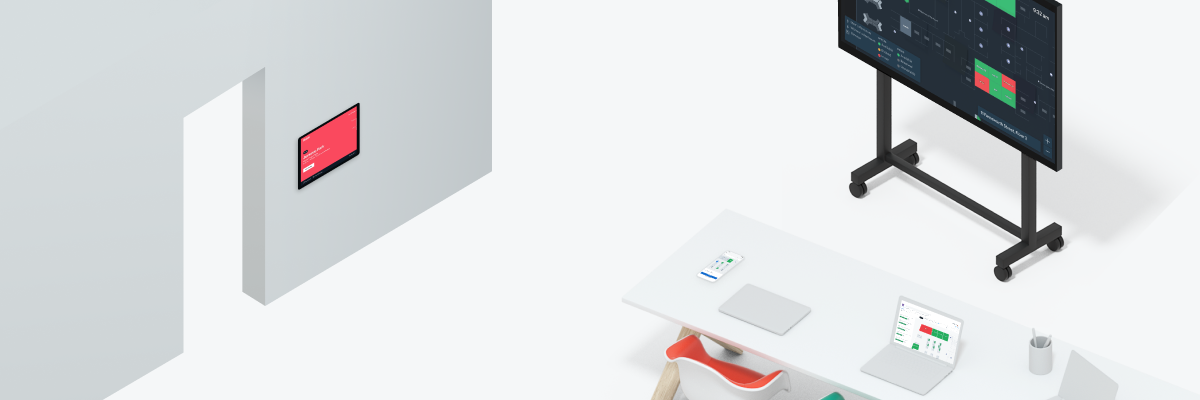 A 3d render of a conference room, a desk with a laptop and phone, and a kiosk with Robin product screens.
