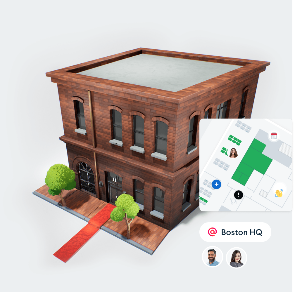 A 3d render of an office building with an office map and avatars.
