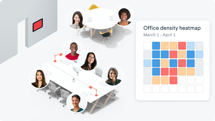 Office with avatars and heat map of office density.