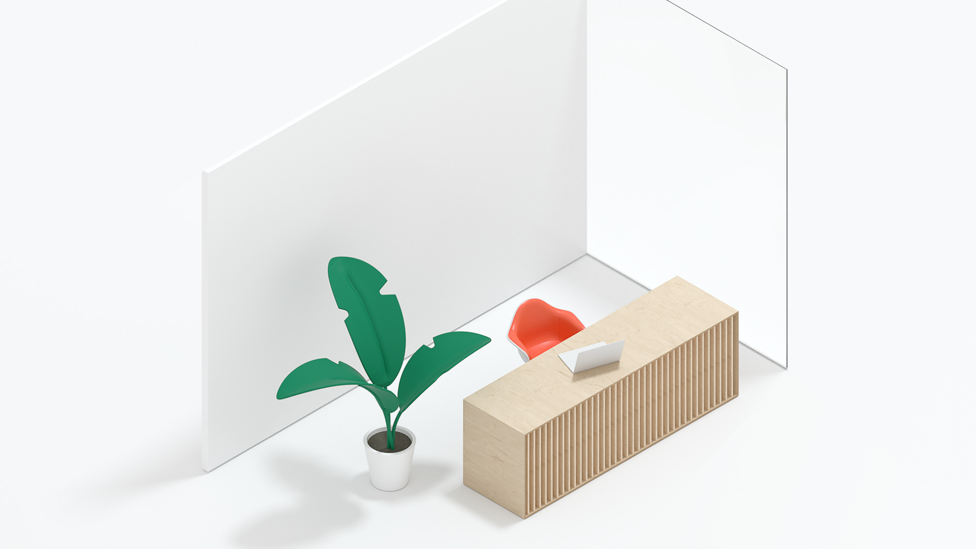 A 3d render of a front desk and plant.