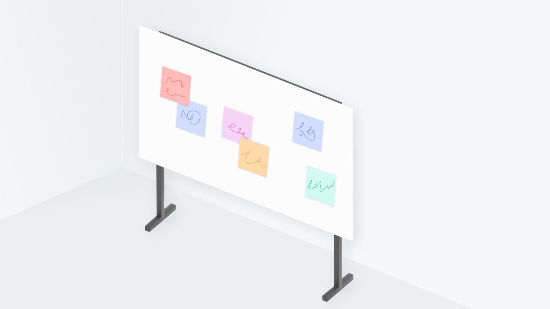 An image of a board with sticky notes on it.