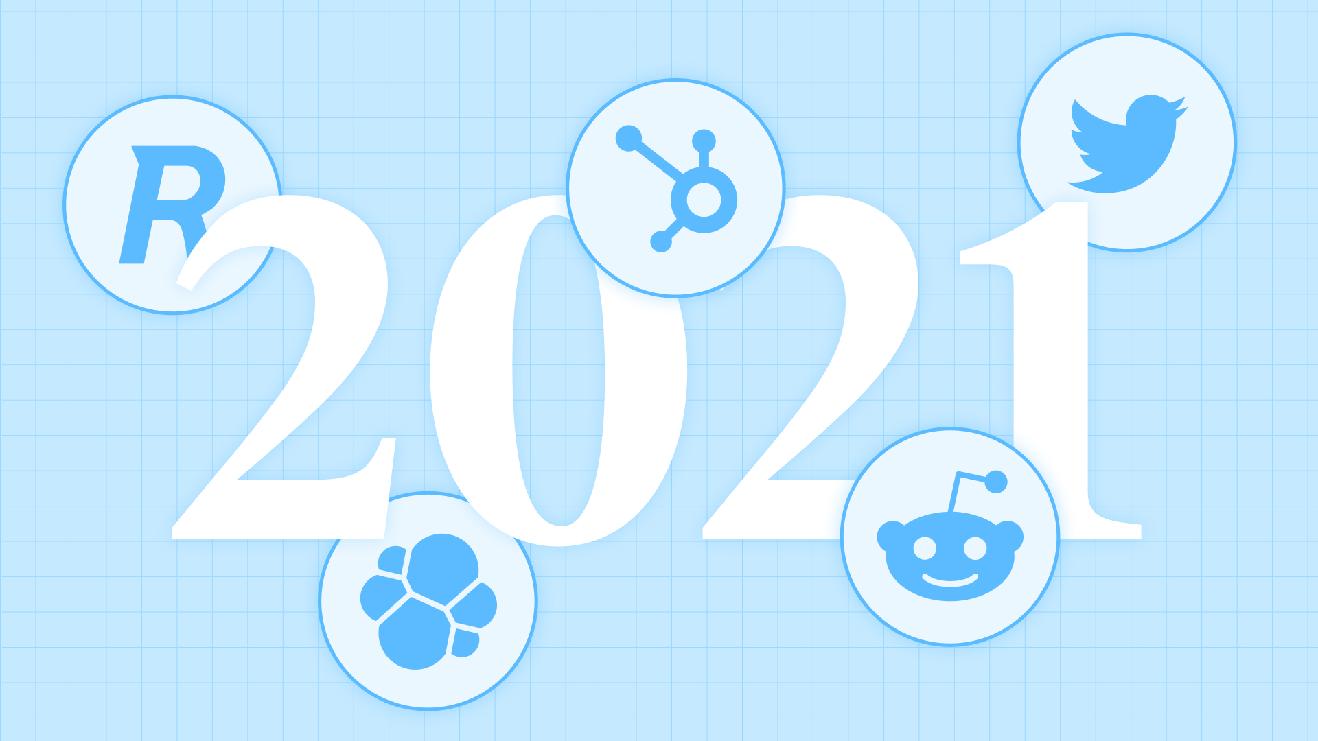 An image of 2021 with logos overlaid on top. Logos for Robin, Twitter, HubSpot, GitHub, and Elastic.