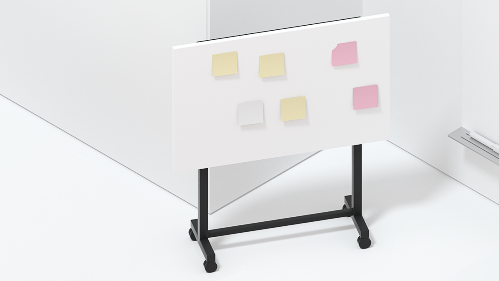 A 3d render of a white board with sticky notes in a room.