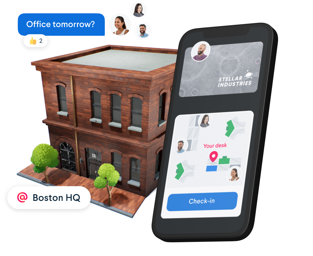 An image showing a 3d render building, a phone with Robin ui and coworkers asking to work in the office tomorrow.