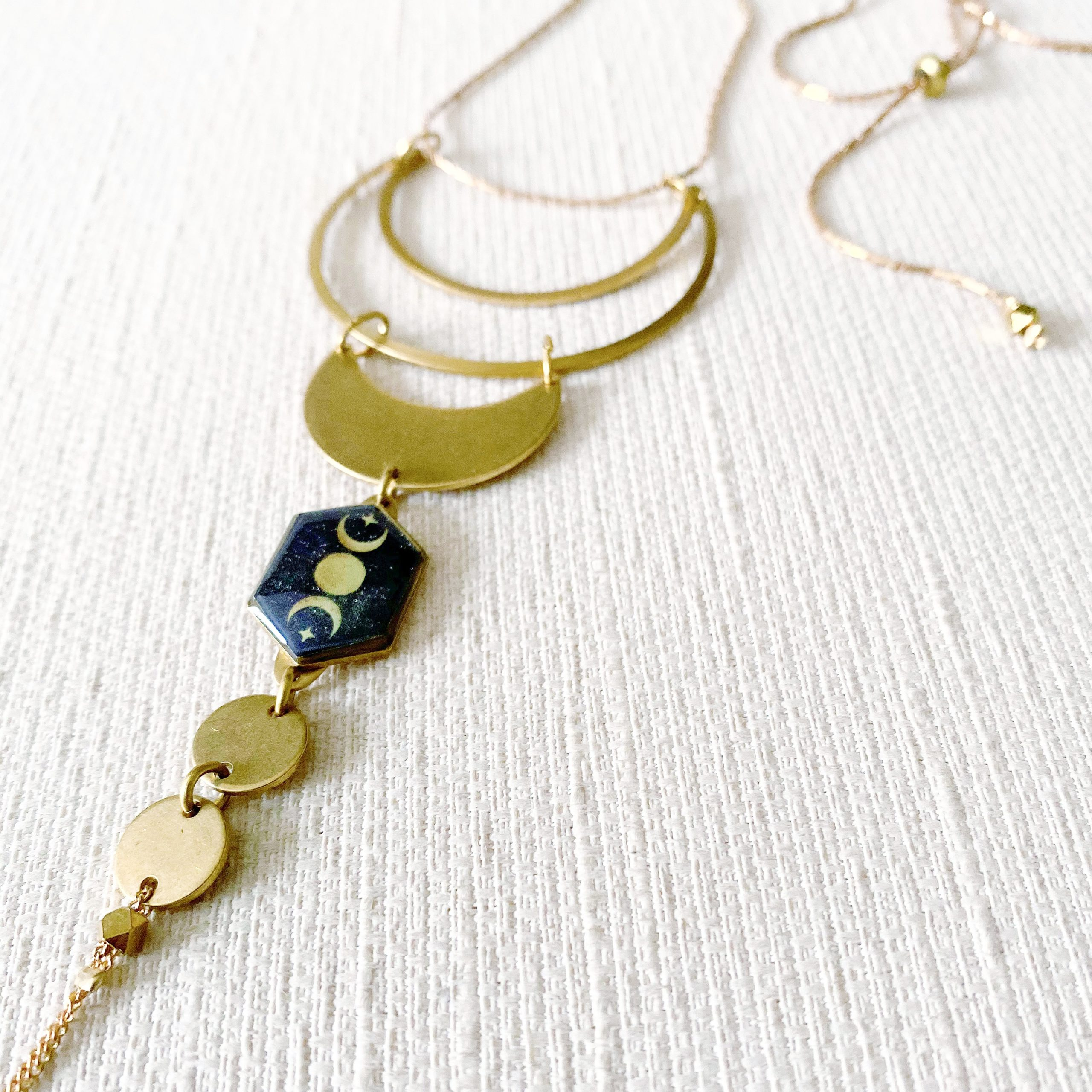 Dramatic Crescent Moon and Stars Necklace
