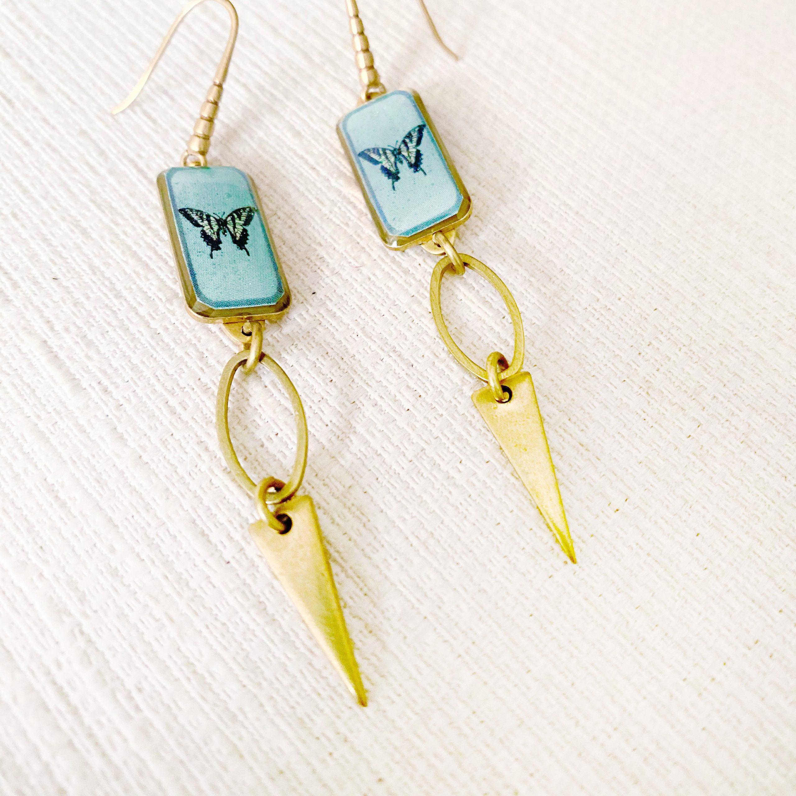 Aqua Butterfly Earrings