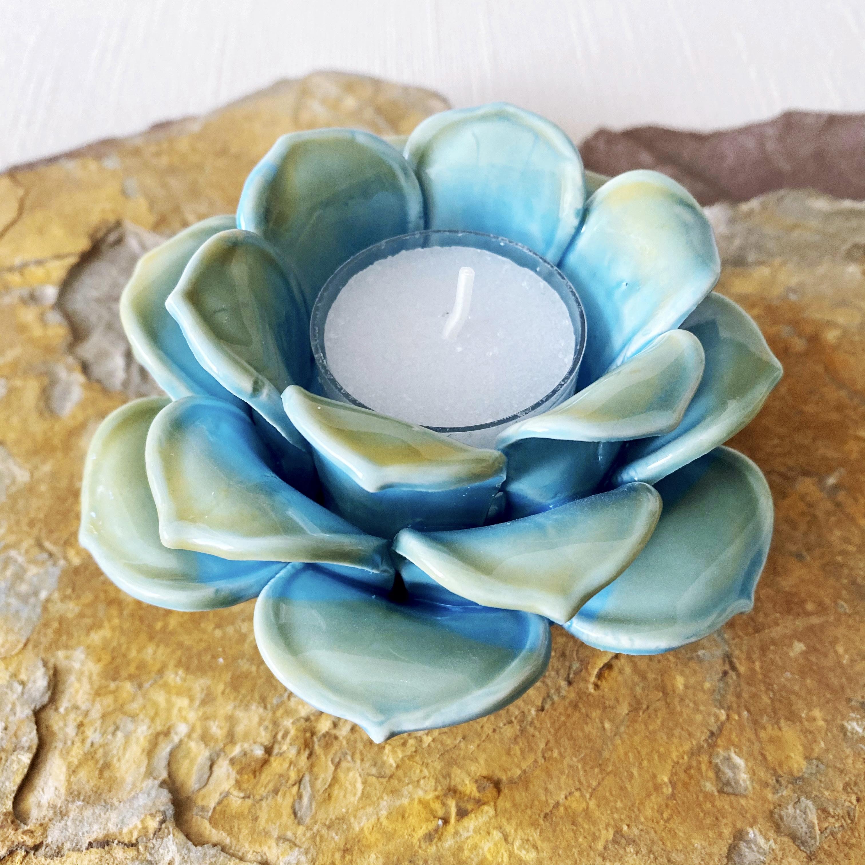 Blue + Gold Lotus Tealight Holder