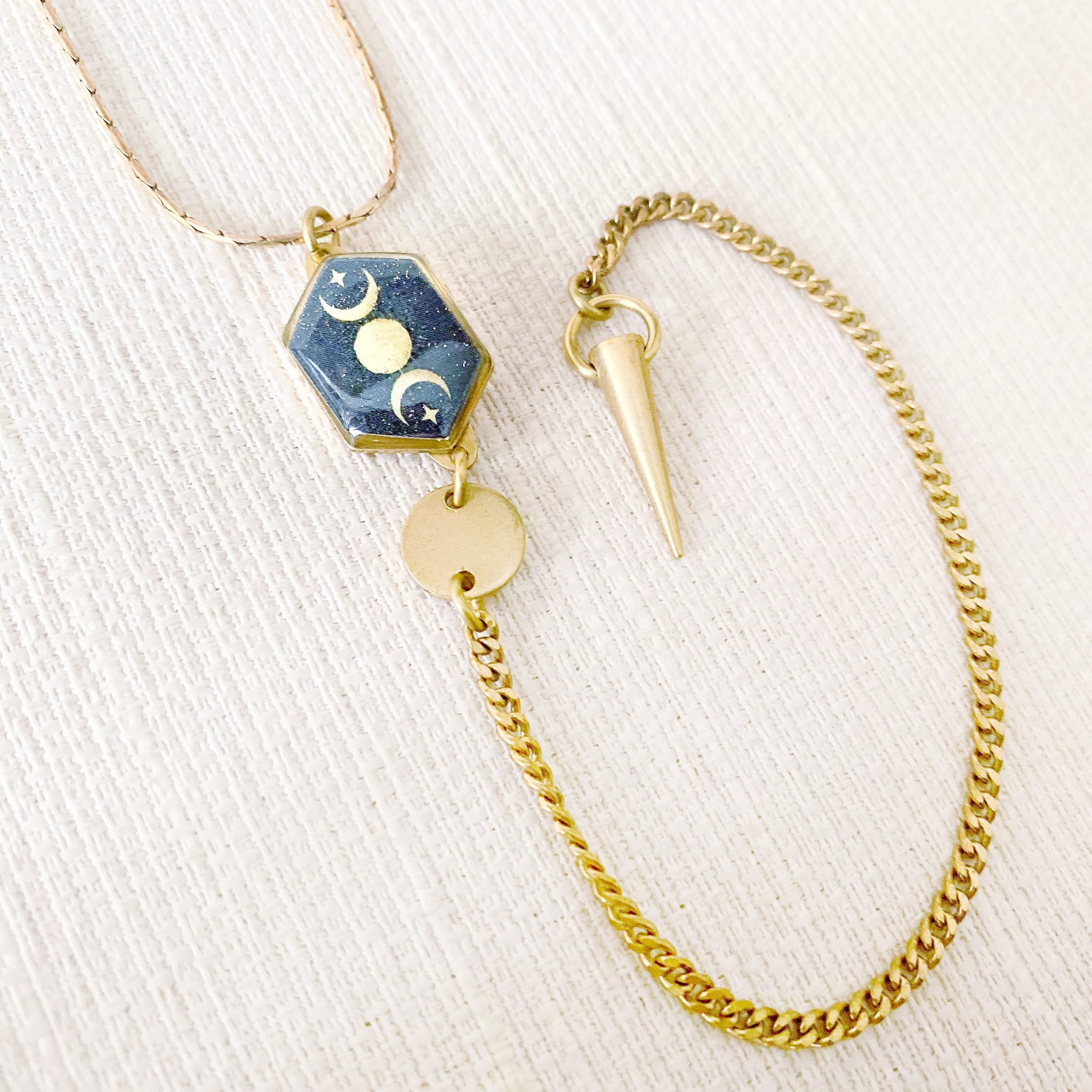 Moon and Stars Y Necklace