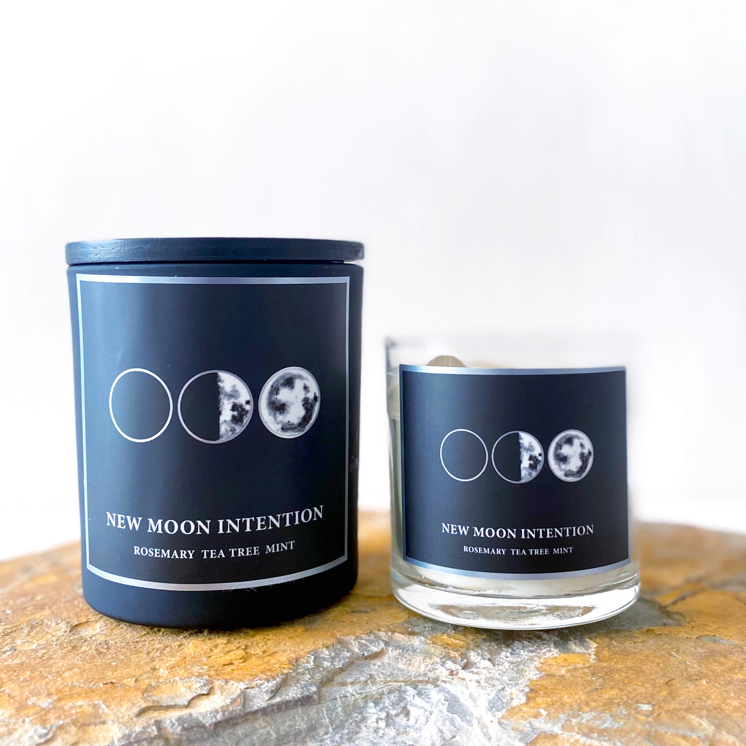 New Moon Intention Crystal Candle