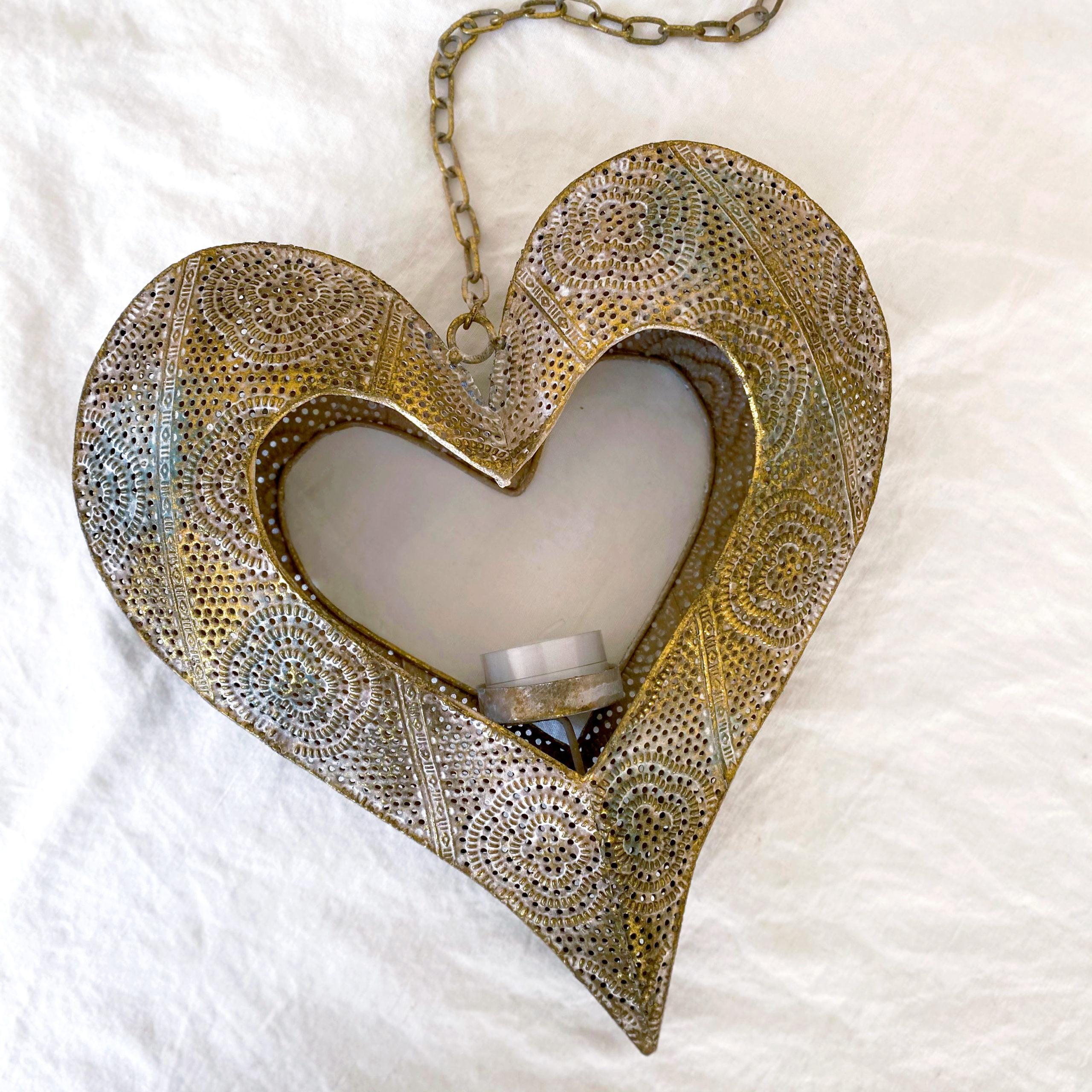 Open Heart Luminary   Antique Gold