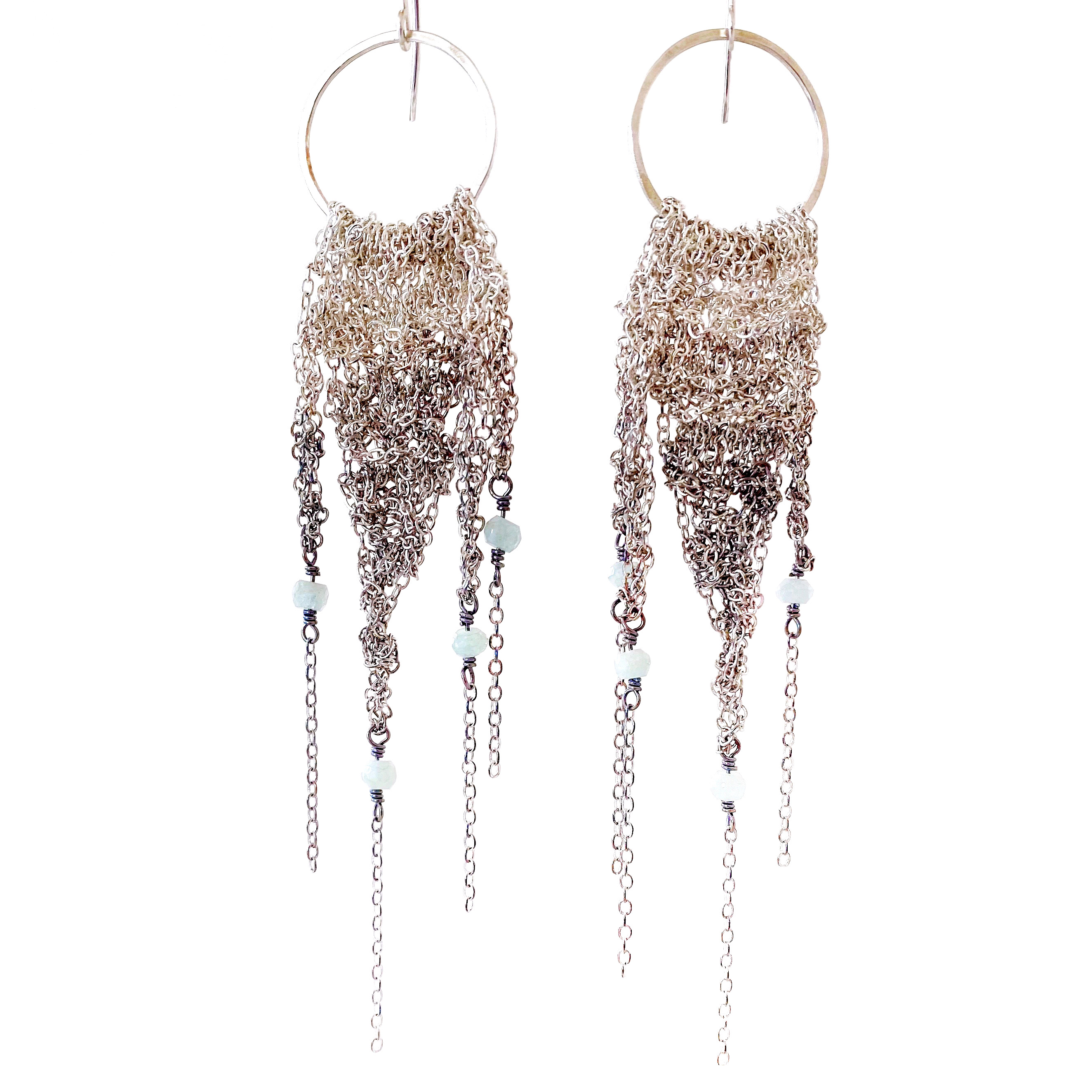 Large Silver Ombre Fringe Earrings with Aquamarine
