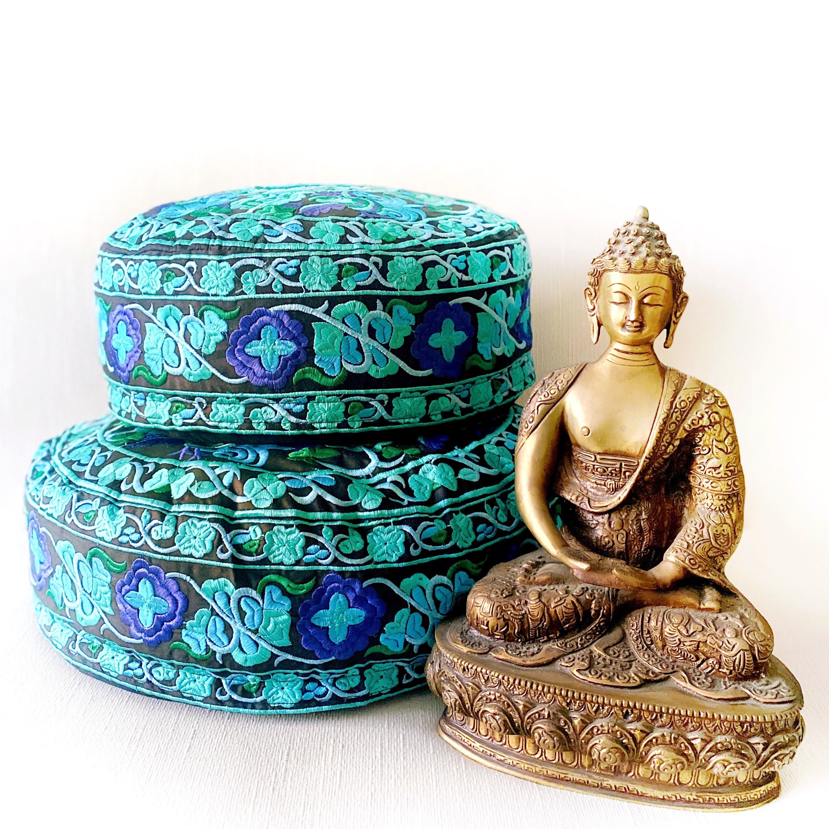 Embroidered Meditation Cushions | Blue + Green