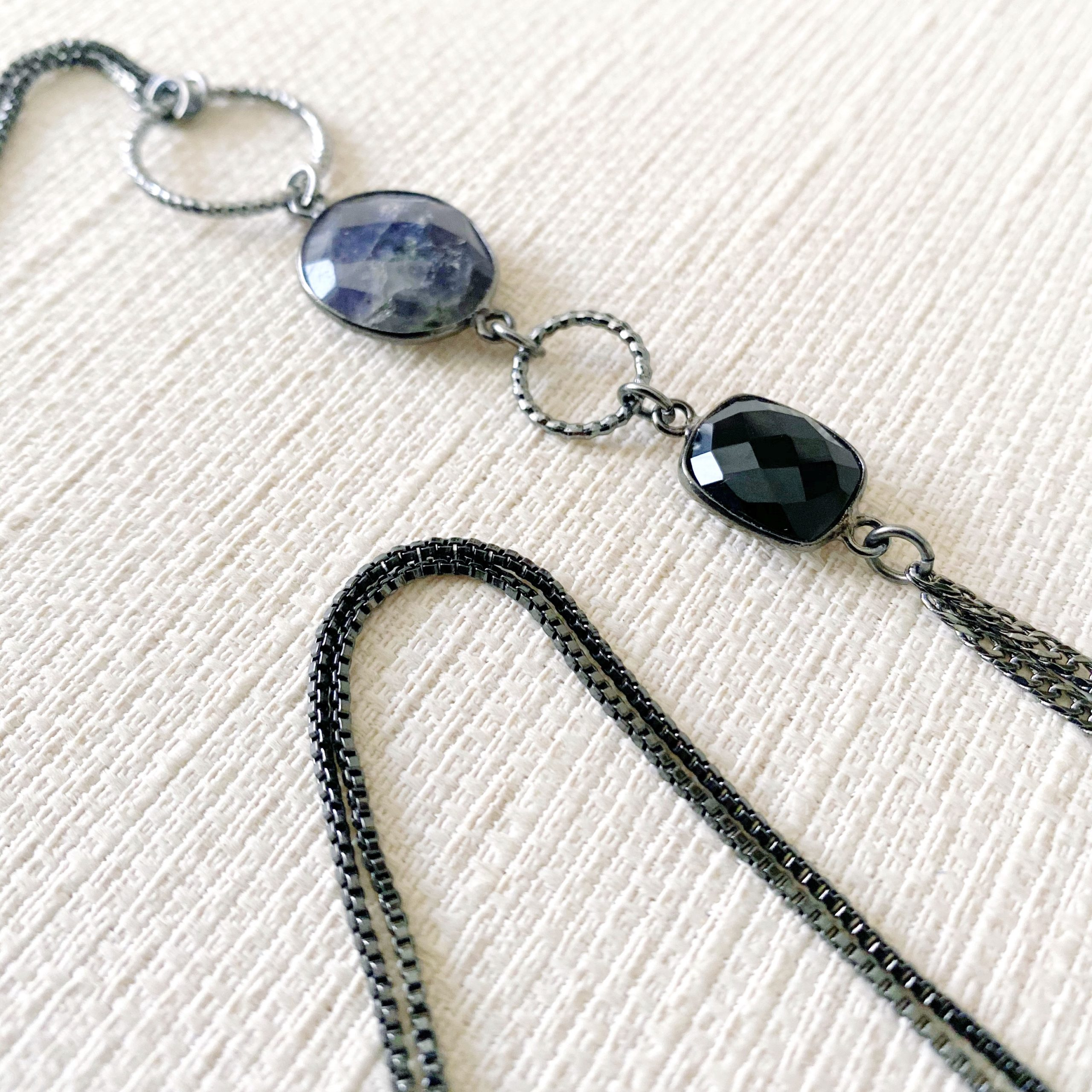Iolite and Black Spinel Necklace