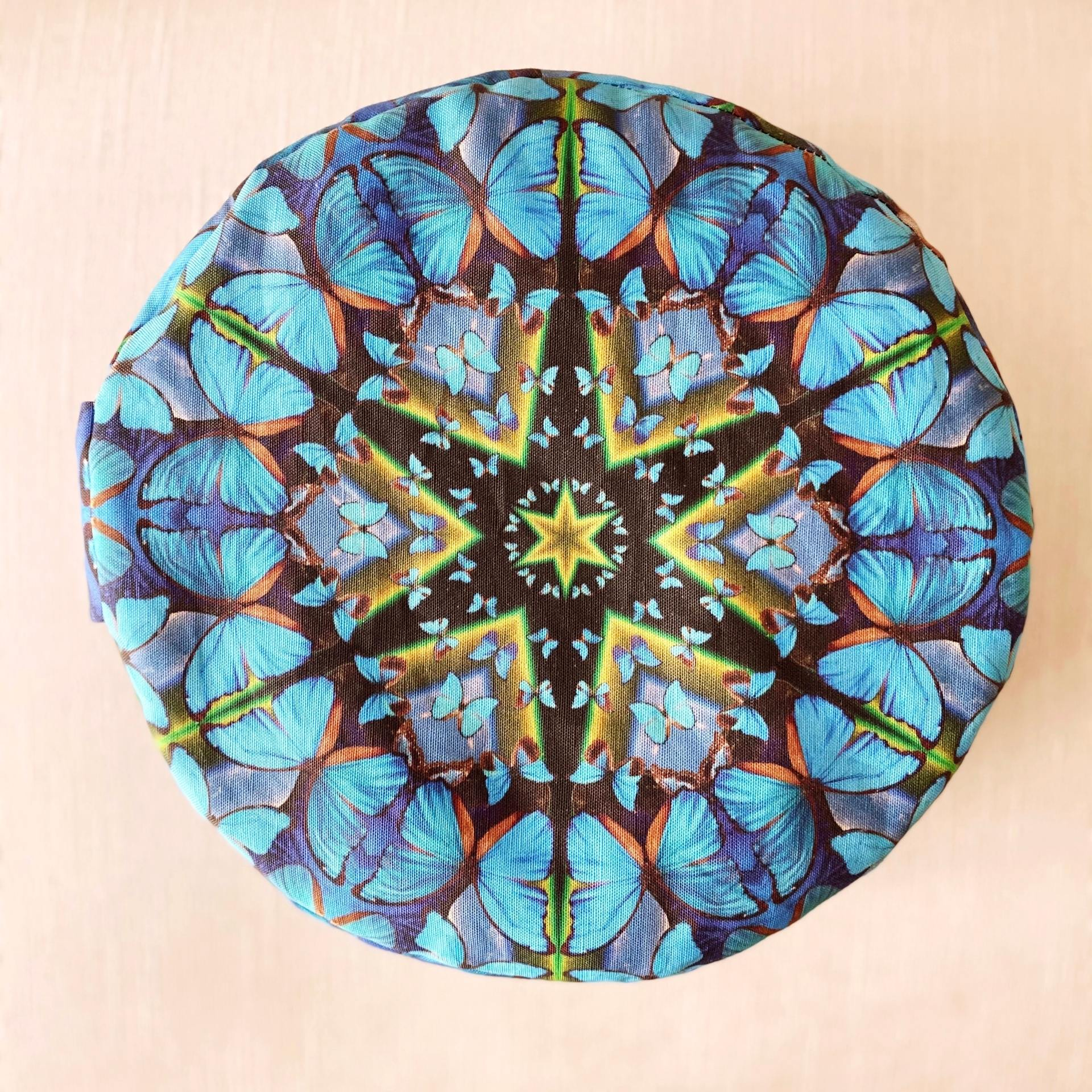 Destiny Blue Butterfly Meditation Cushion
