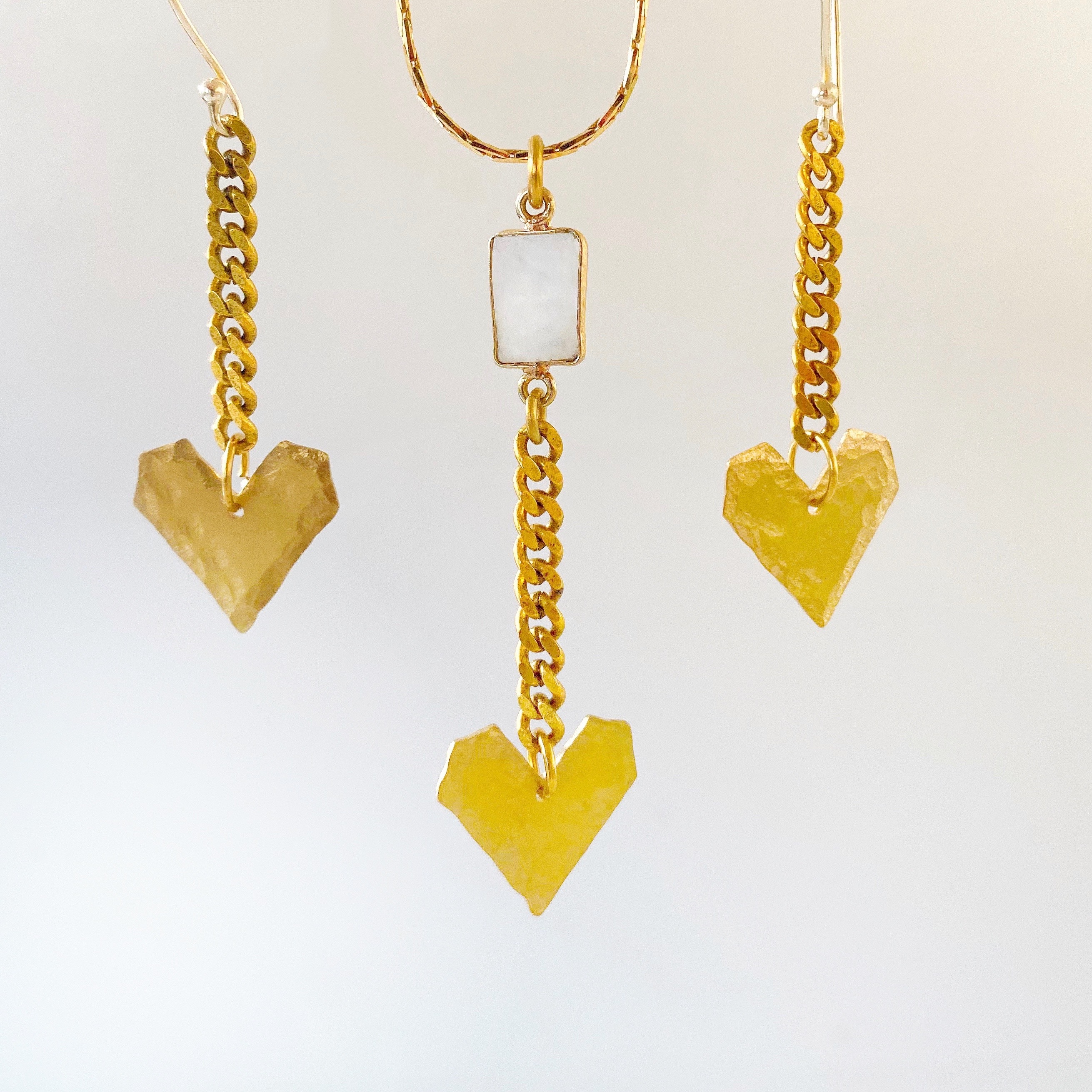 heart necklace and earrings brass jewelry valentine's day gift