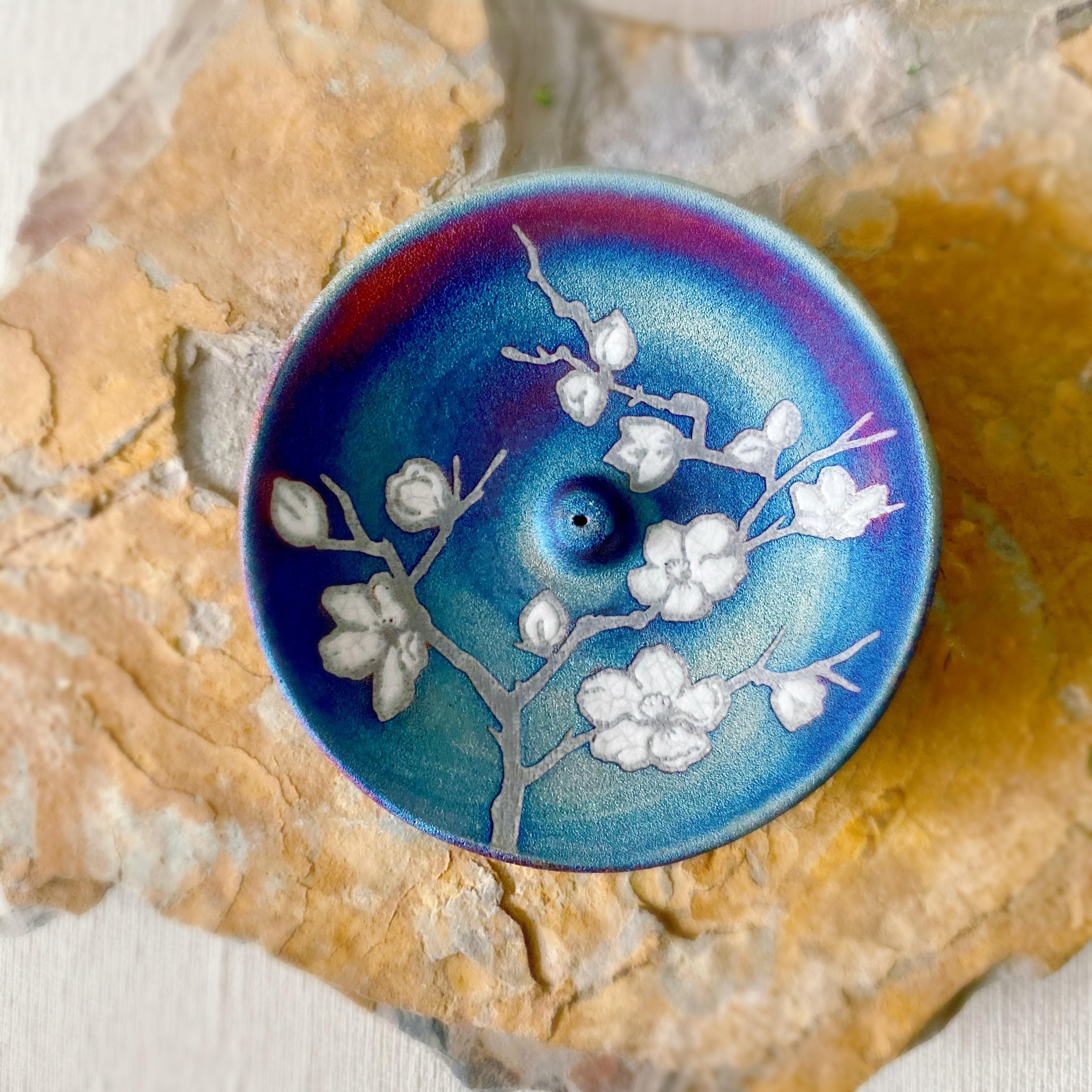 Cherry Blossom Raku Pottery Incense Holder