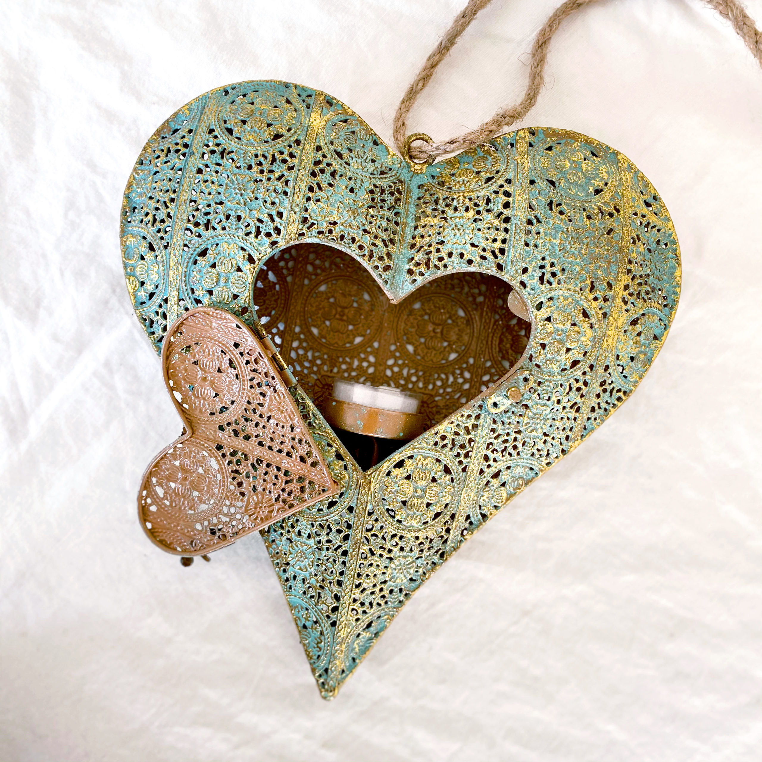 Heart with Door Luminary   Gold on Sage