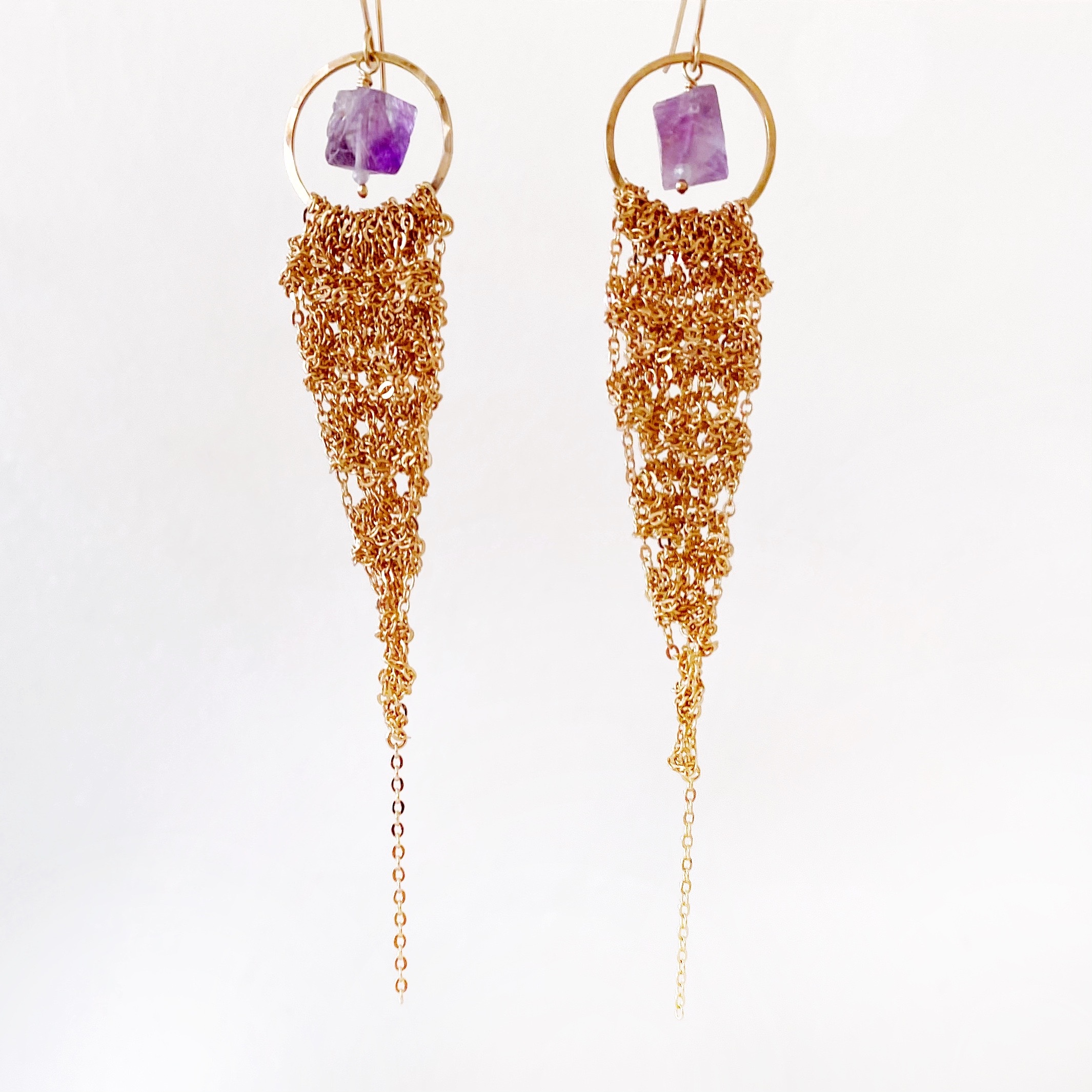 Large Gold Drop Earring with Purple Fluorite