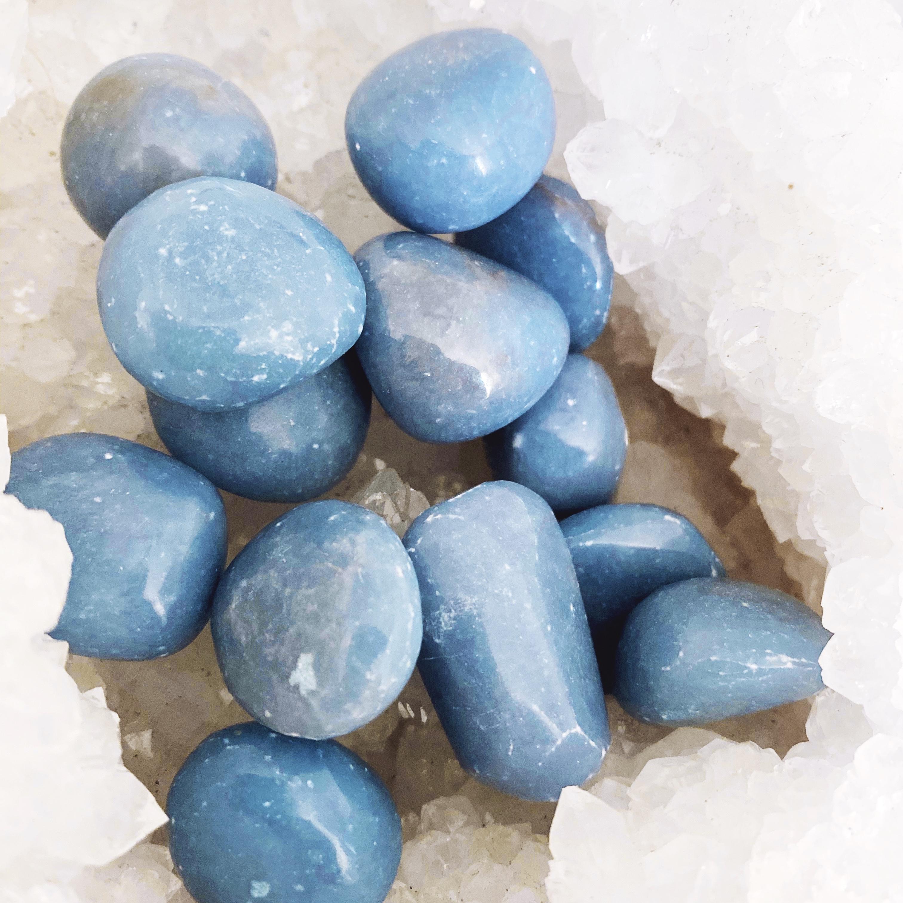 angelite crystal stone tumbled   paradise found santa barbara