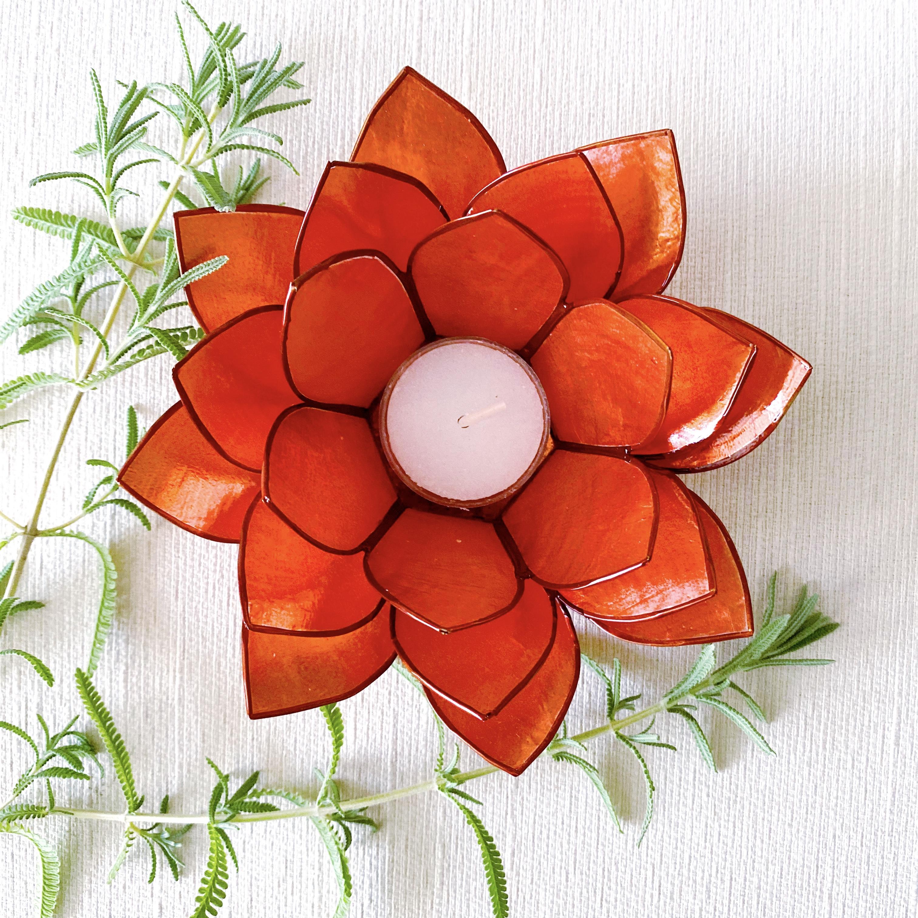 Orange Capiz Tealight Holder