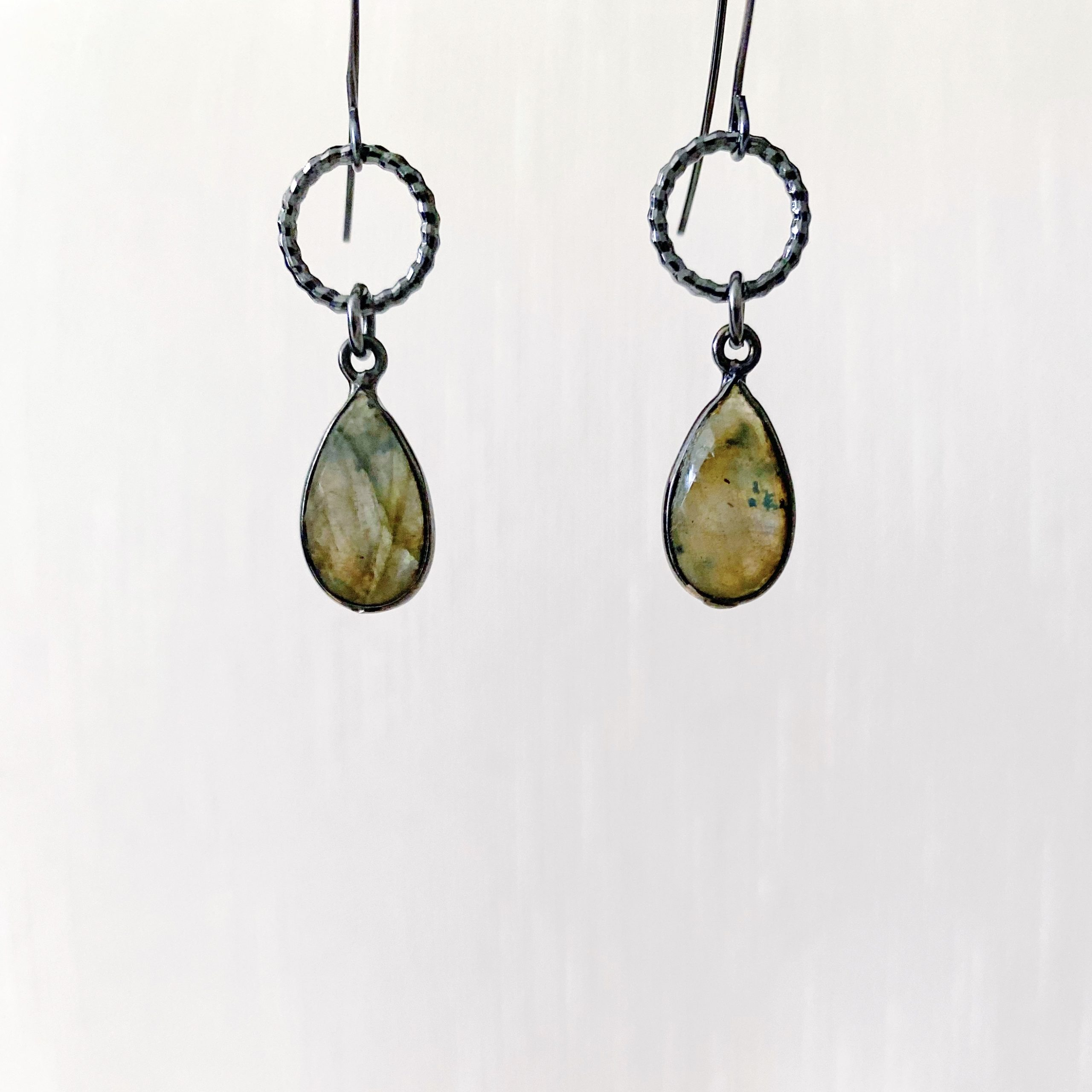 Gunmetal Labradorite Earrings