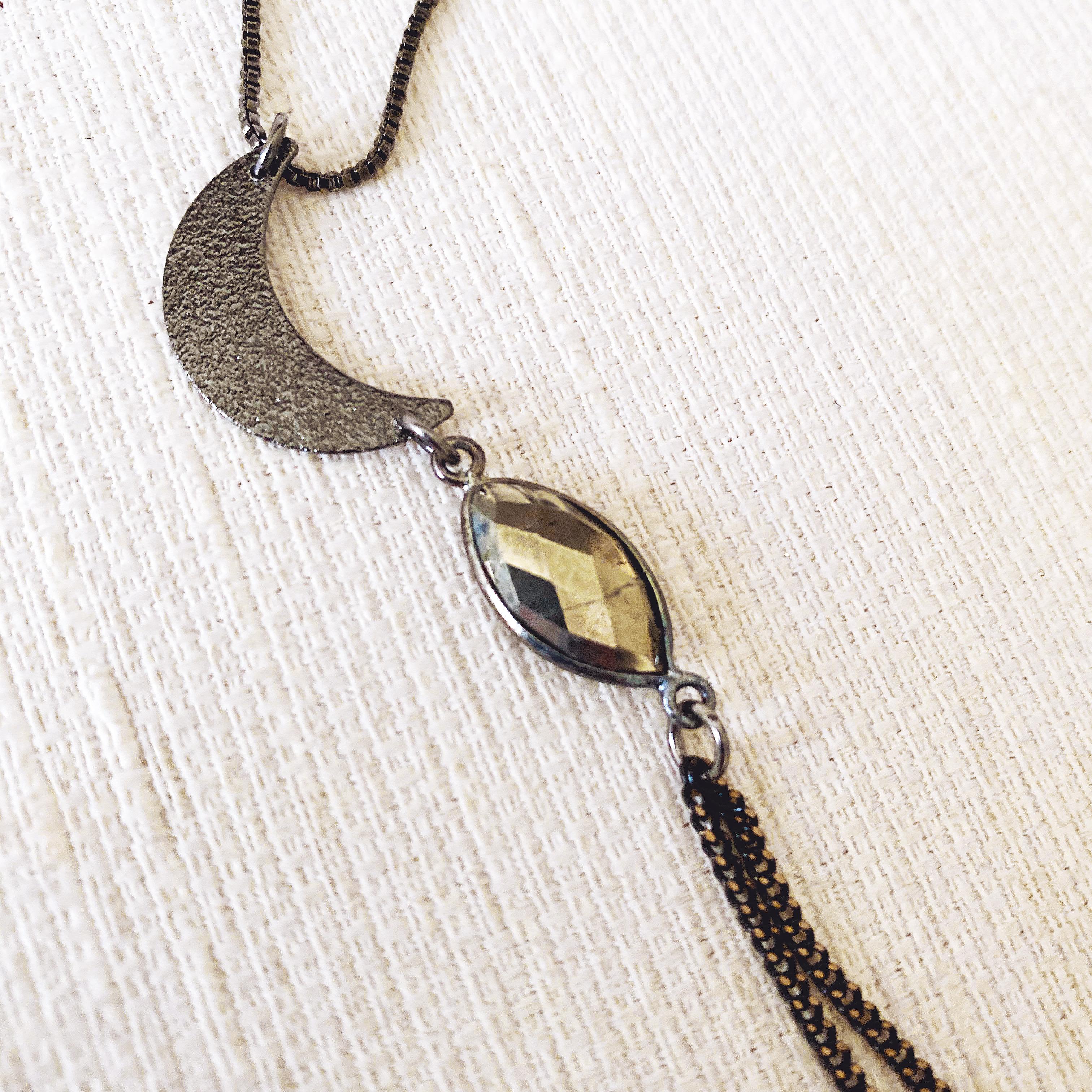 Gunmetal Moon Necklace