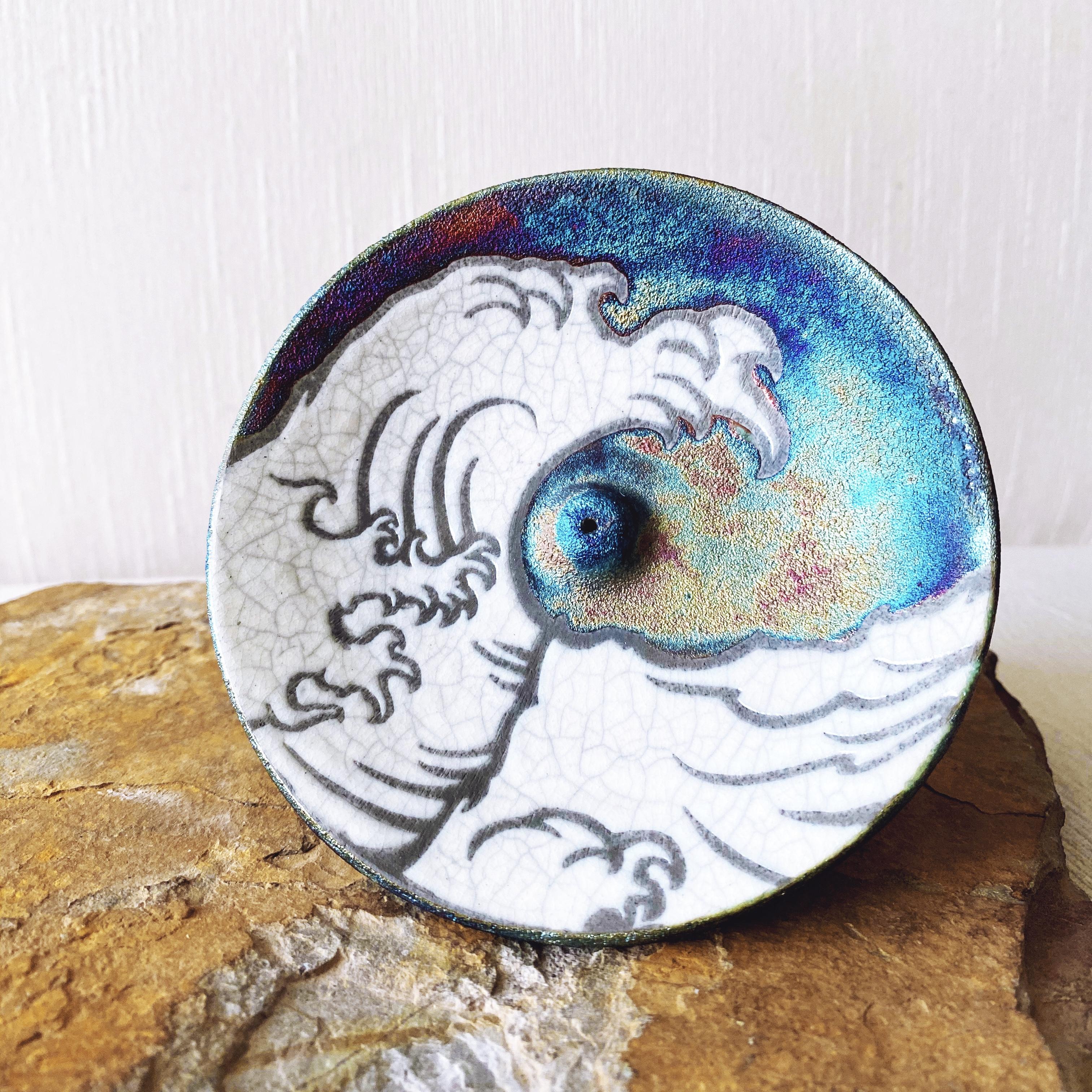 Wave Raku Pottery Incense Holder