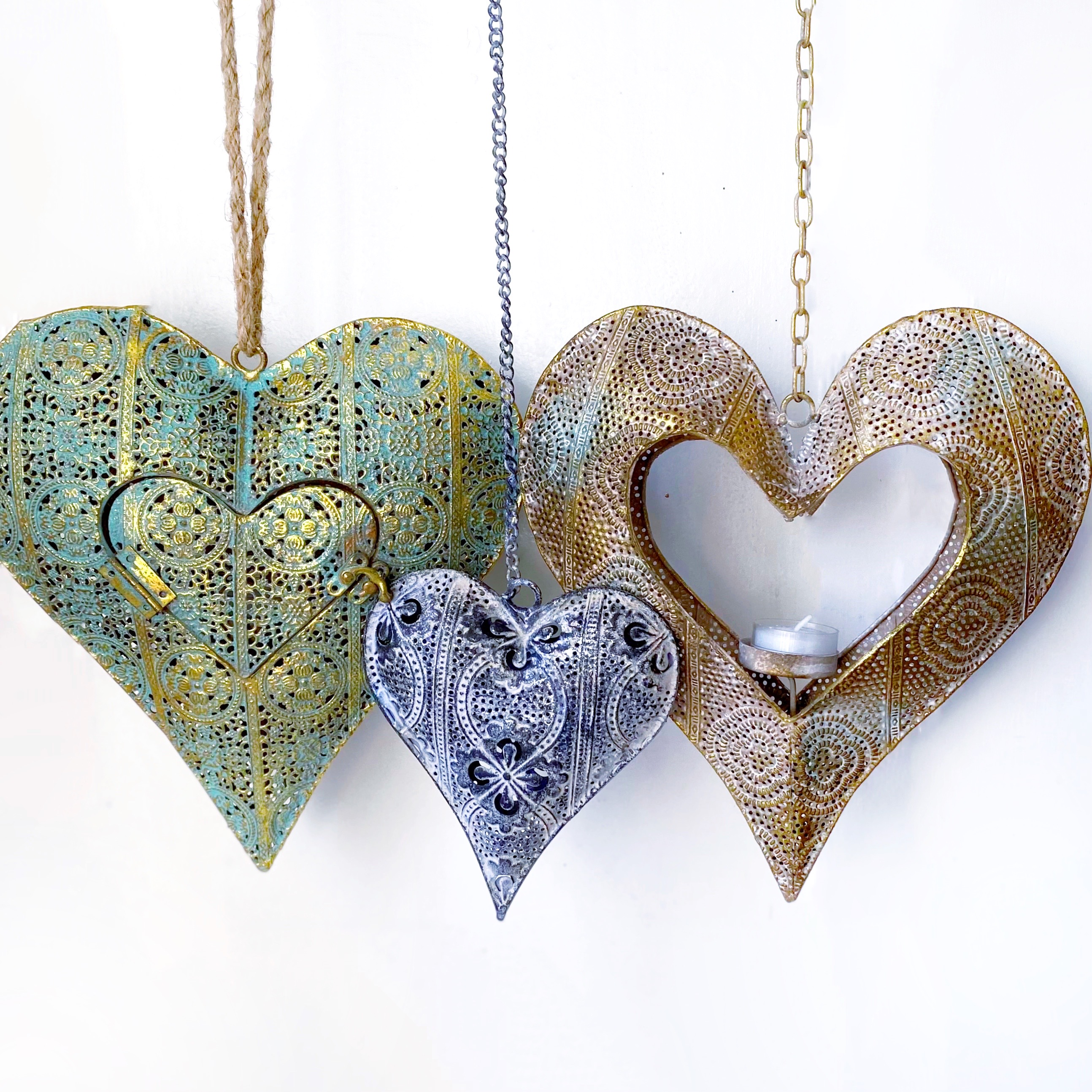 metal heart luminaries luminary candle holder votive tealight