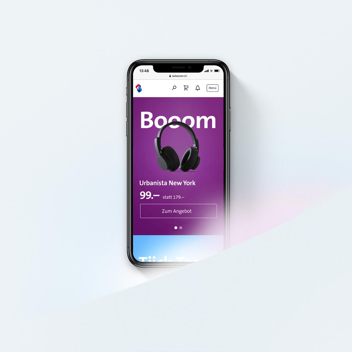 Displaykampagne auf Smartphone für Kopfhörer