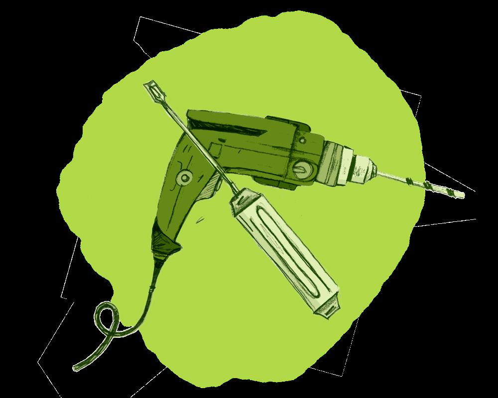 Illustration von Bohrmaschine und Schraubenzieher in Grün
