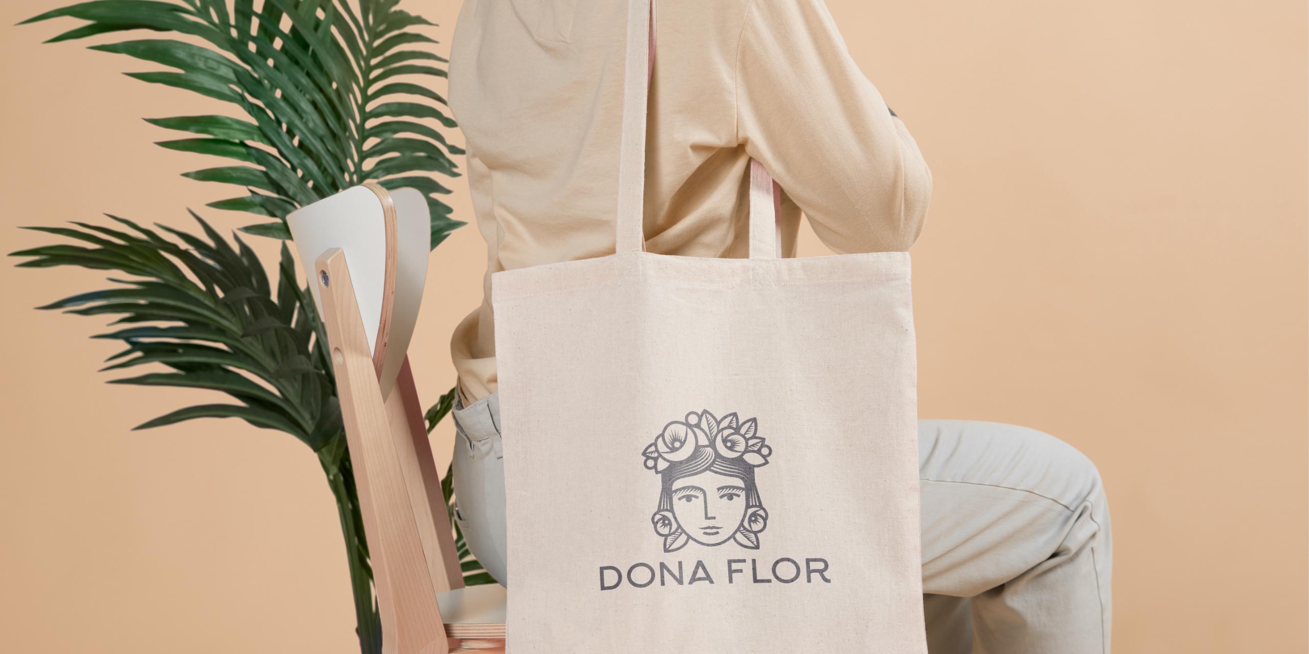 Leinentasche mit dem Logo von Dona Flor