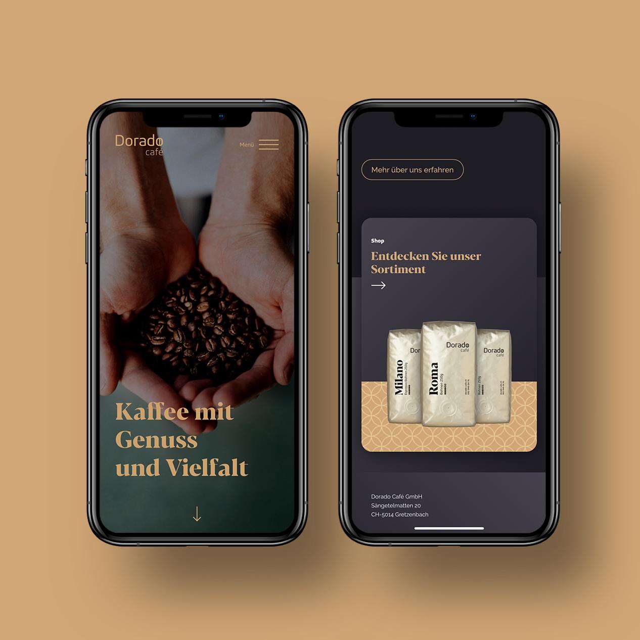 Mobile Webseite Kaffee