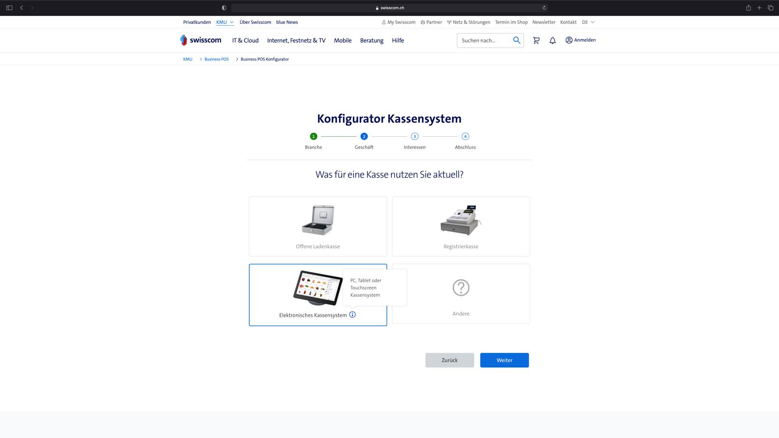 Konfigurator für Kassensysteme
