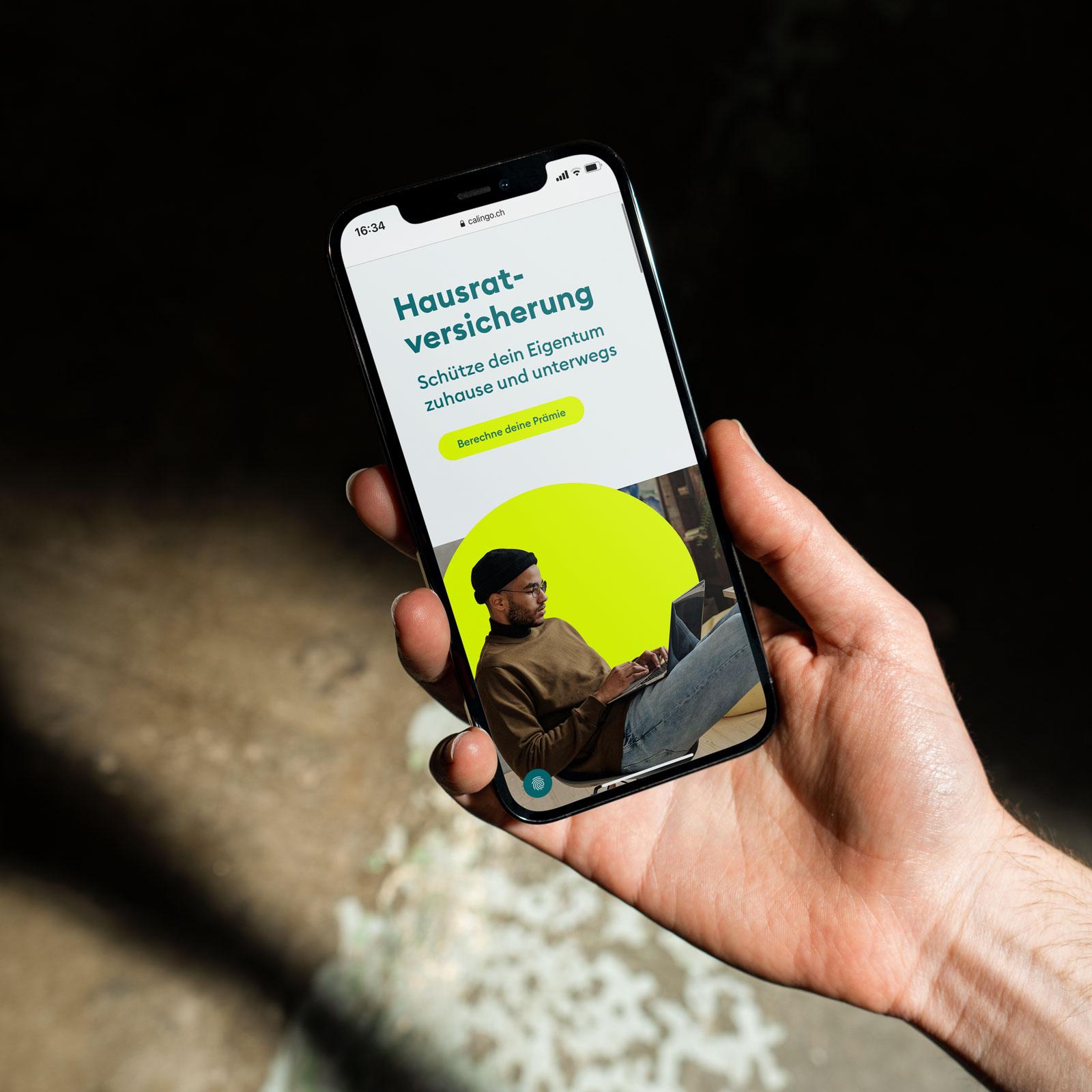 Calingo Webseite auf dem Smartphone