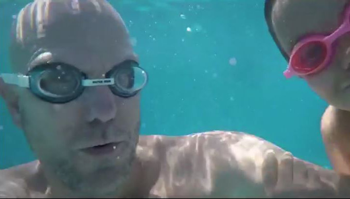 The Trondson Family swimming