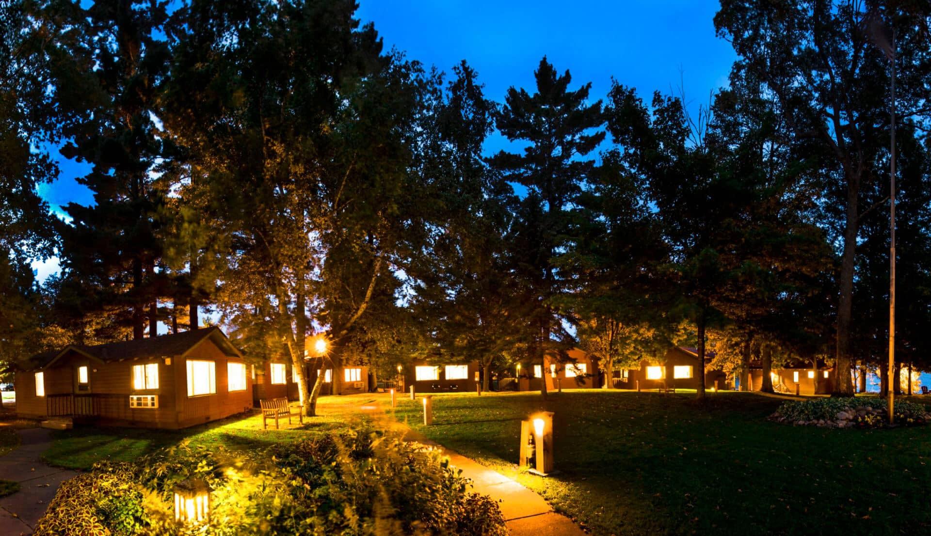 Ruttger's cabins at night