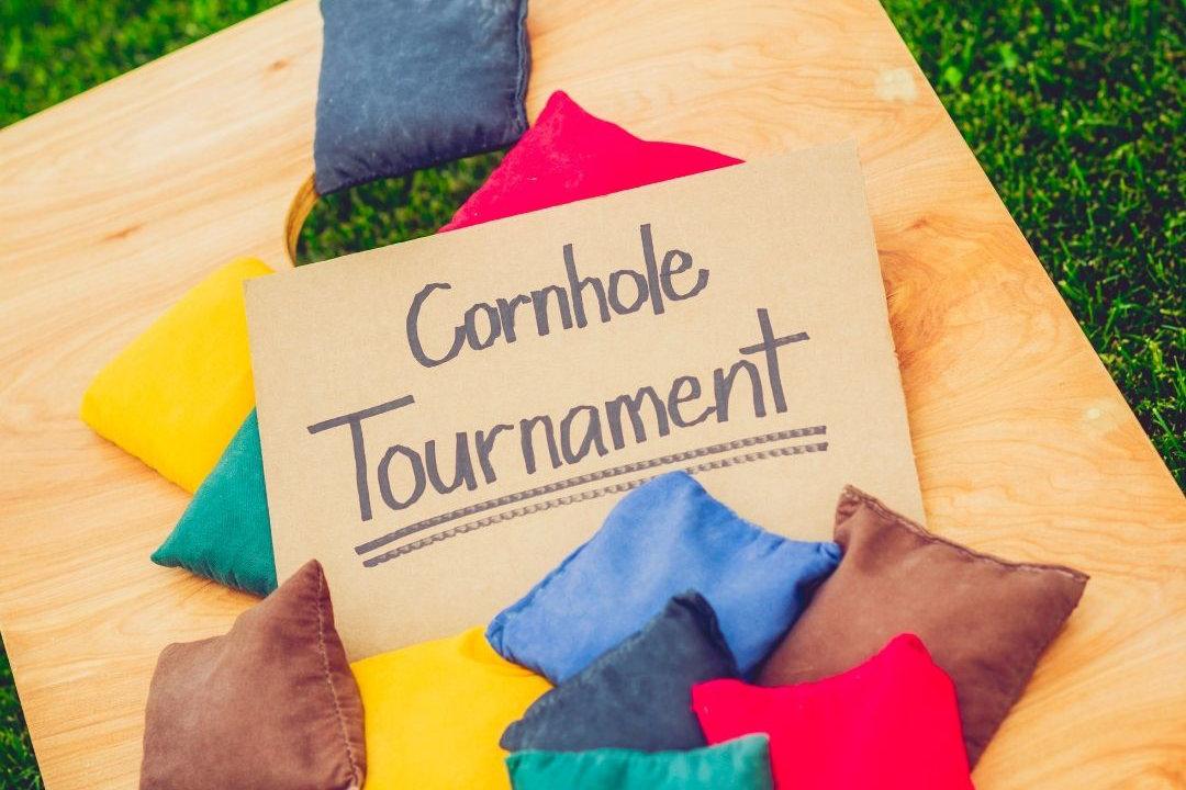 Cornhole tournament sign