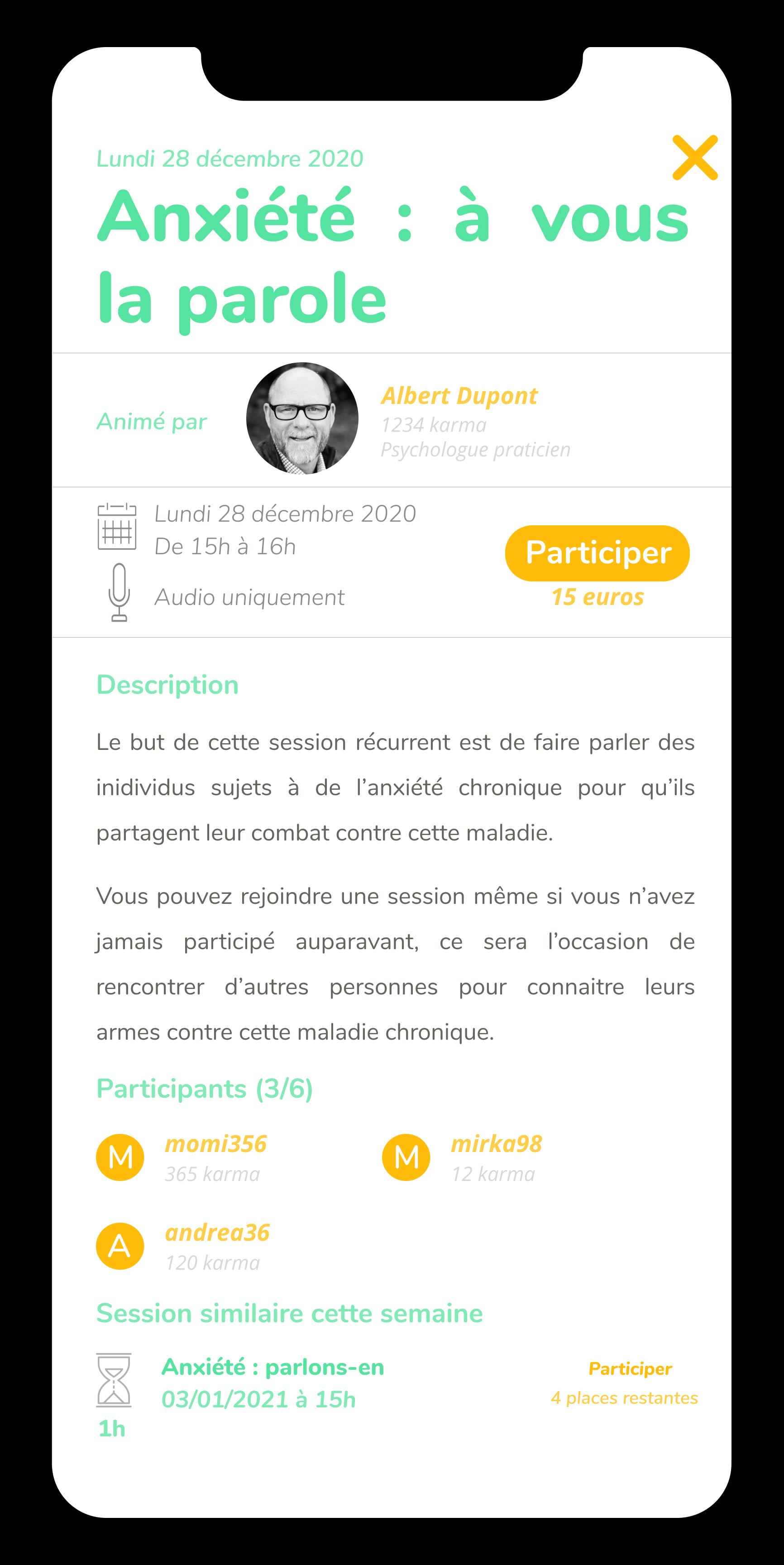 Ecran de la fonctionnalité groupe de parole de l'application Anonyme